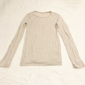 J. Crew Cream/Tan Long-Sleeve Tee Shirt